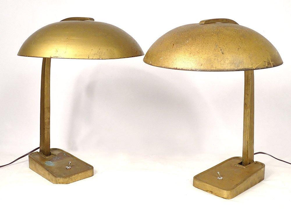 Paire de Lampes de Bureau Bronze Métal Vintage Art Déco Allemagne XXème