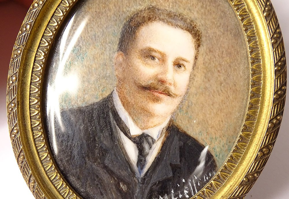 Miniature Peinte Ovale Portrait Homme Cravate Notable Signée Cadre XIXème-photo-3