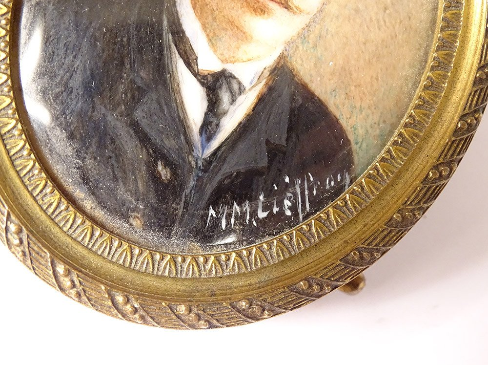 Miniature Peinte Ovale Portrait Homme Cravate Notable Signée Cadre XIXème-photo-4