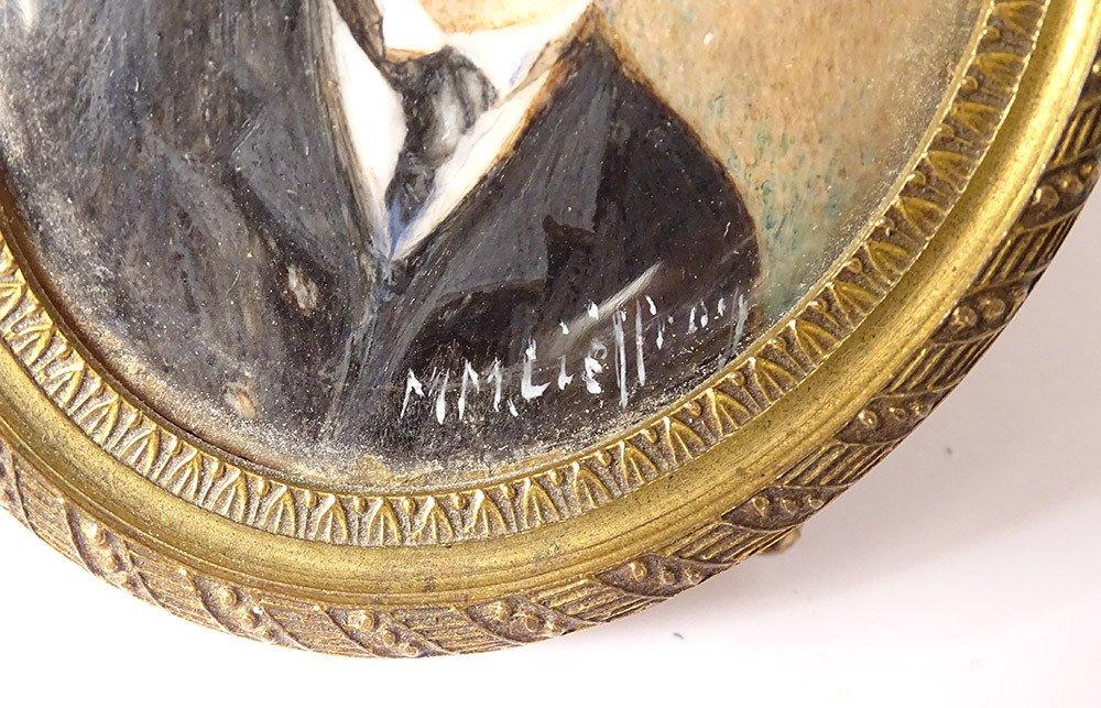 Miniature Peinte Ovale Portrait Homme Cravate Notable Signée Cadre XIXème-photo-1