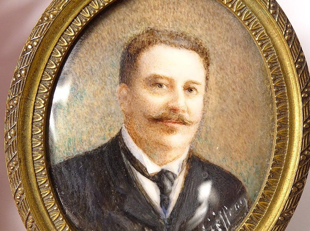 Miniature Peinte Ovale Portrait Homme Cravate Notable Signée Cadre XIXème-photo-2