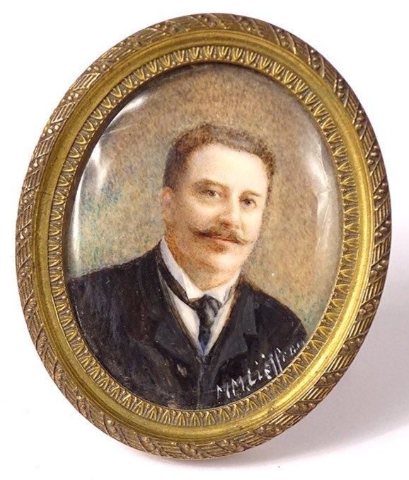 Miniature Peinte Ovale Portrait Homme Cravate Notable Signée Cadre XIXème