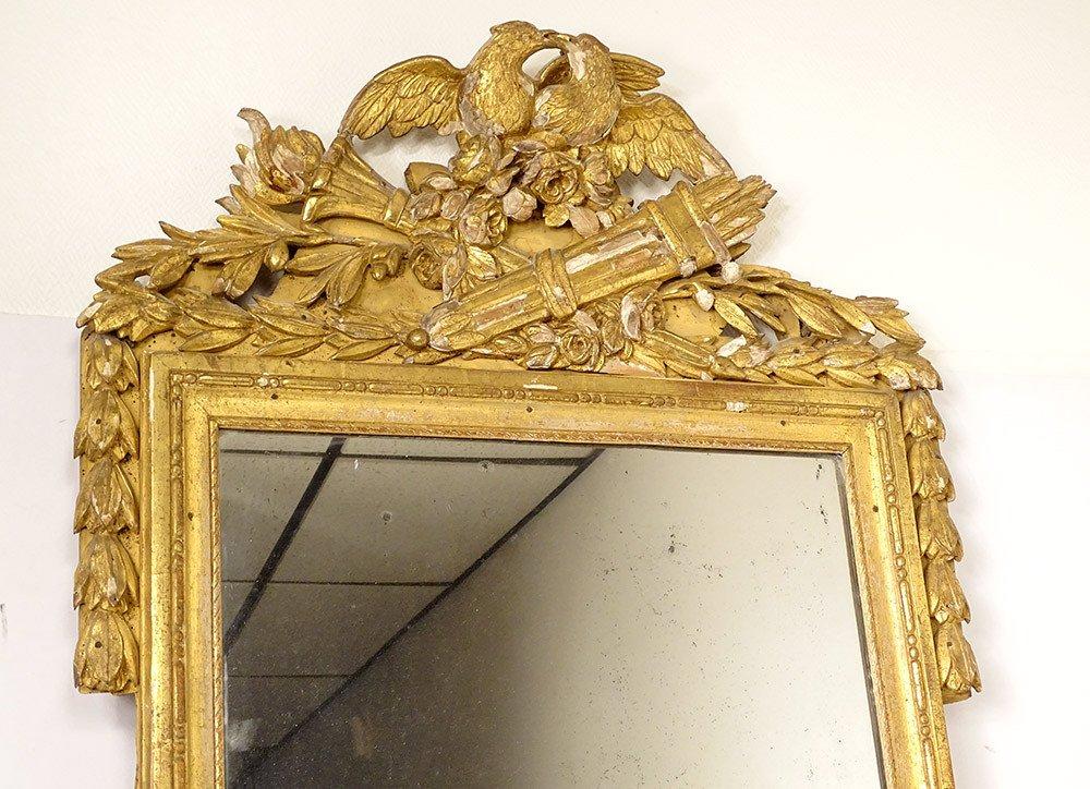 Grand Miroir Louis XVI Bois Sculpté Doré Oiseaux Carquois Flambeau XVIIIè-photo-2