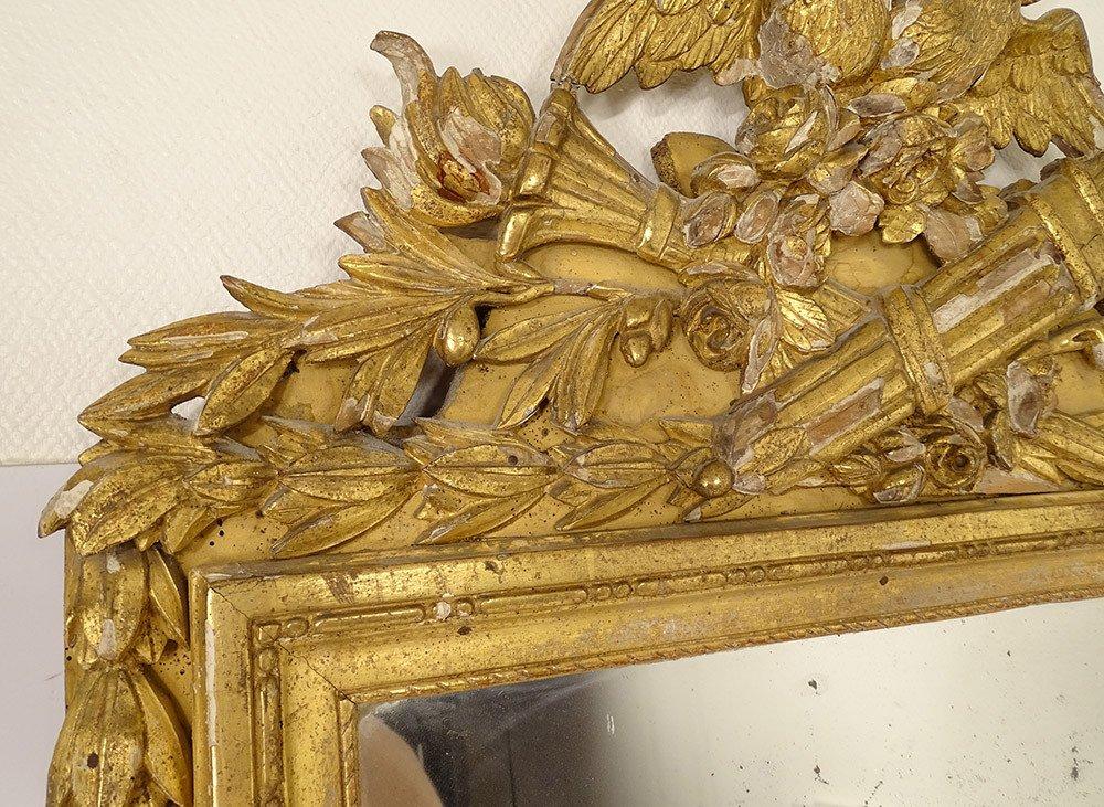 Grand Miroir Louis XVI Bois Sculpté Doré Oiseaux Carquois Flambeau XVIIIè-photo-3