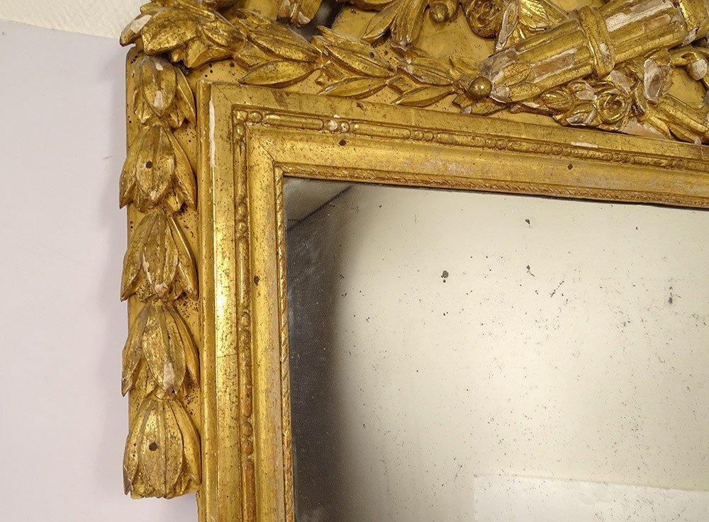 Grand Miroir Louis XVI Bois Sculpté Doré Oiseaux Carquois Flambeau XVIIIè-photo-4