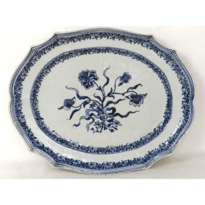 Plat Porcelaine Compagnie des Indes Blanc-Bleu Fleurs Kangxi XVIIIè