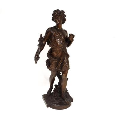 Sculpture Bronze Jeune Homme Branchage Palme Signée Moreau XIXè