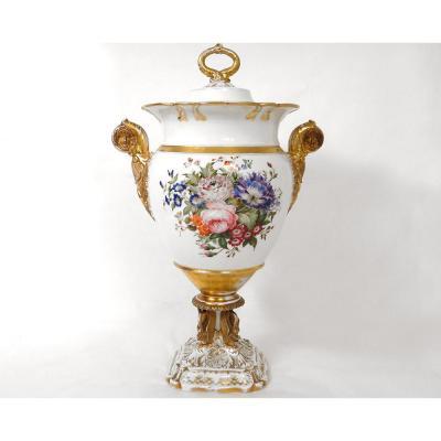 Grand Rafraichissoir Porcelaine Paris Cygnes Mascarons Napoléon III XIXè