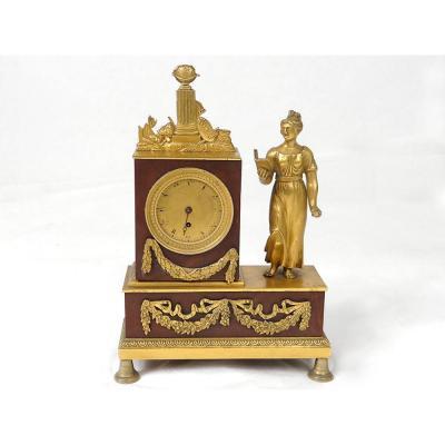 Pendulette Bronze Femme Allégorie Connaissance Ménard l'Aîné Empire XIXè