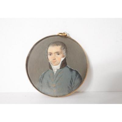 Miniature Peinte Portrait Jeune Homme Noble Bourgeois Monture Or XIXè