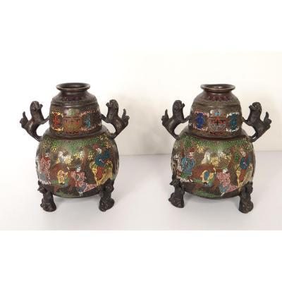 Paire Vases Japonais Bronze Cloisonné Décor Dragon Mandarin XIXè