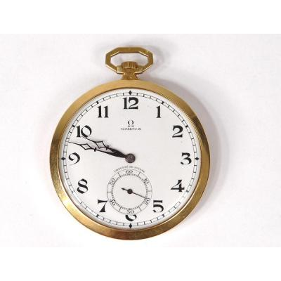 Pocket Watch Omega Solid Gold 18 Carats Swiss Art Deco XXth