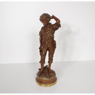 Sculpture Bronze Garçon Enfant Un Accident Signé Anfrie XIXè
