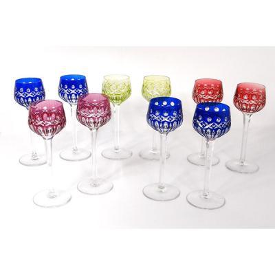 10 Glasses Vin Rhin Roemers Cristal Saint-louis Color Model Traminer XXè