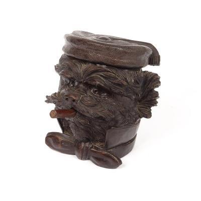Pot à Tabac Bois Sculpté Black Forest Tête Chien Cigare Noeud XIXè