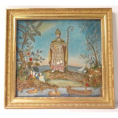 Tableau Ex-voto Broderie Religieuse St-lazare Soie Fils Or Restauration 19è