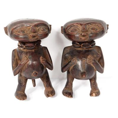 Couple Statues Fetish Protectors Pygmy Carved Wood Cameroon Africa