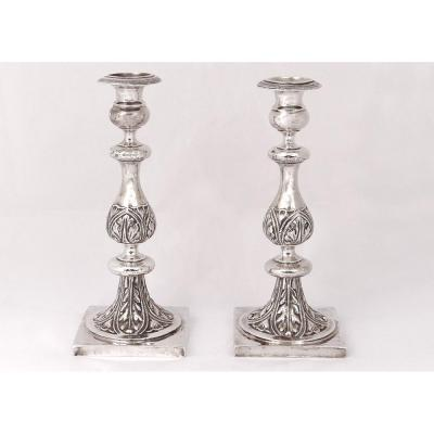 Pair Candlesticks Sterling Silver Russian Minsk Goldsmith Pogorzelski Nineteenth