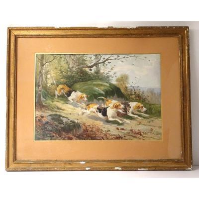 Aquarelle Paysage Hippolyte Gide Chiens Meute Chasse à Courre Forêt XIXè