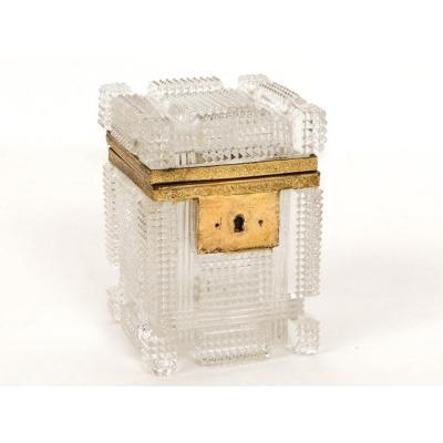 Petit Coffret Boîte Cristal Taillé Feuillage Charles X XIXème Siècle
