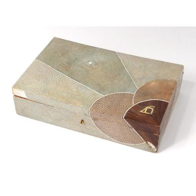 Coffret Boîte Galuchat Nacre Palissandre Rousseau Frank Art Déco XXème