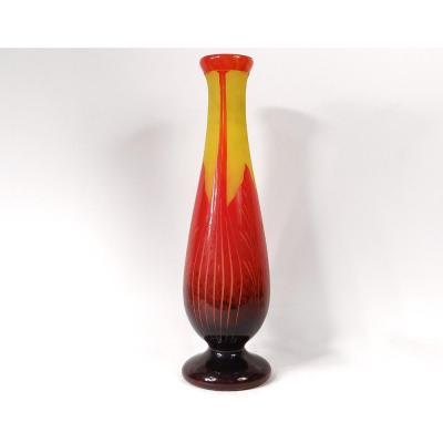 Grand Vase Pâte de Verre Le Verre Français Schneider Feuilles Art Déco XXè