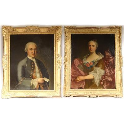 Paire HST Portraits Nobles Général Lérivint Fleury Bedane Louis Tocqué 18è
