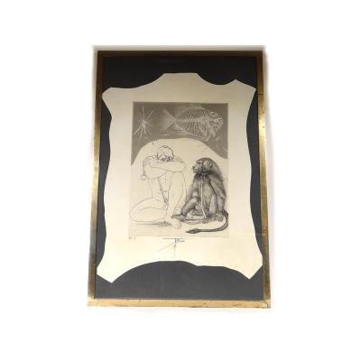 Lithograph Py. Trémois Man And Monkey Baboon Proof Artist N ° I 1970