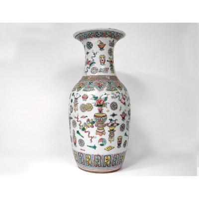 Grand Vase Balustre Porcelaine Chinoise Vases Lampes Fleurs Chine Signé 19è