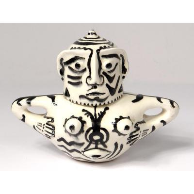 Pot Couvert Sculpture Anthropomorphe Céramique Ernst Van Leyden 1952 XXè