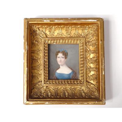 Miniature Peinte Portrait Femme élégante Joséphine Lhoest Cadre Stuqué XIXè
