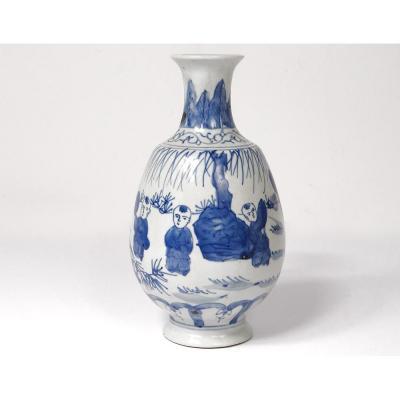 Petit Vase Porcelaine Chinoise Blanc-bleu Personnages Enfants Qianlong 18è