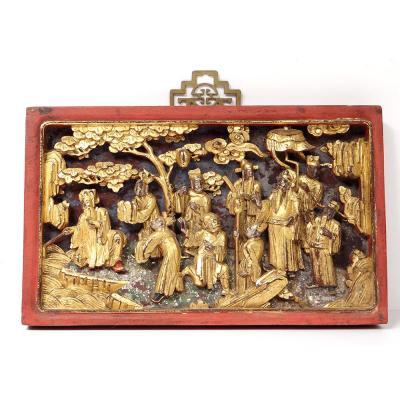 Panneau Haut-relief Bois Sculpté Doré Personnages Dignitaires Chine XIXème