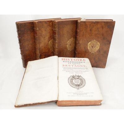 Livres Histoire Ecclésiastique Bretagne Morice Armoiries Anne Bretagne 18è