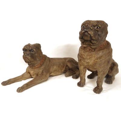 Paire Sculptures Couple Chiens Dogues Anglais Terre Cuite XIXème Siècle