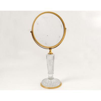 Miroir Table Glace Psyché Bronze Doré Cristallo-cérame Frileuse Empire XIXè