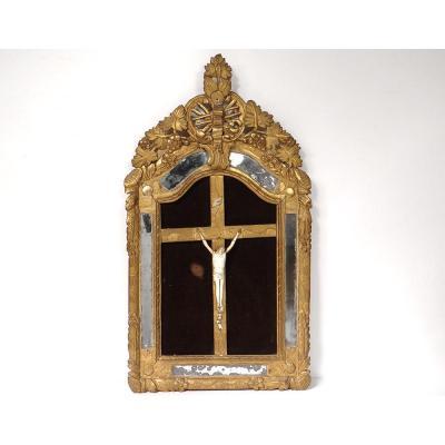 Crucifix Cadre Bois Sculpté Régence Crucifixion Christ Janséniste XVIIIème