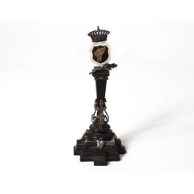 Small Memorial Column Victory Ebony Silver Coat Crown Nineteenth