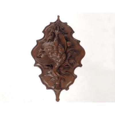 Sculpture Trophée Chasse Black Forest Bois Sculpté Oiseaux Canard XIXème