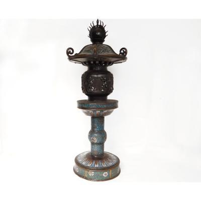 Lanterne Temple Kasuga Brûle-parfum Bronze émaux Cloisonnés Japon XIXème