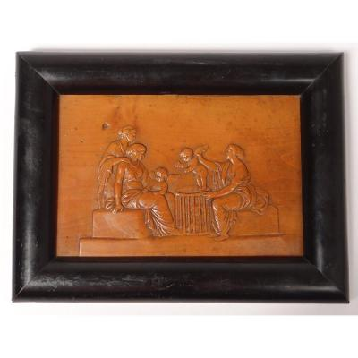 Plate Bas-relief Boxwood Carved Antique Women Cherubs Young Child Nineteenth