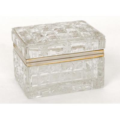 Coffret Boîte Cristal Taillé Baccarat France Laiton Doré XIXème
