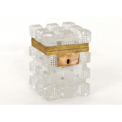 Petit Coffret Boîte Cristal Taillé Fleurs Feuillage Charles X XIXème Siècle