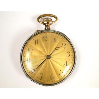 Maçonnic Gousset Watch Sterling Silver Niellé Attributes Freemasons XXth