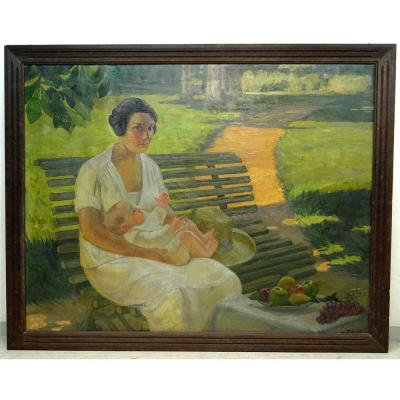 Great Hst Table Woman Child Maternity Park Landscape G. Bailly Twentieth