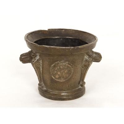 Mortar Apothecary Brass Medallion Caryatids Taken Puy-en-velay XVI