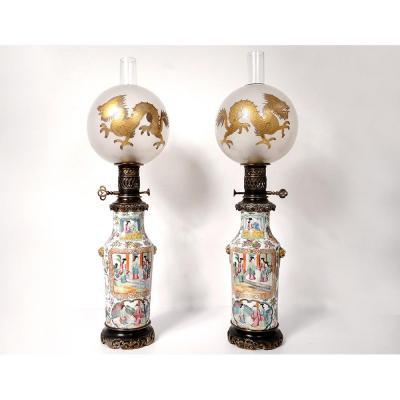 Paire Lampes Pétrole Porcelaine Canton Boule Cristal Saint-Louis Bronze 19è