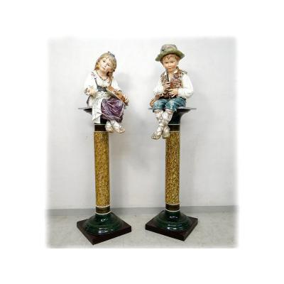 Sculptures Faïence Majolique Wilhelm Schiller Enfants Gitans Autriche 160cm