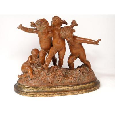 Grande Sculpture Carrier-Belleuse Terre Cuite Bacchanale Putti Dansant XIXè