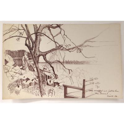 Dessin Ernst Van Leyden Paysage Lagune Venise Femme Karin 1958